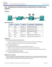 8.2.1.3 Lab - Designing and Implementing a Subnetted IPv4 Addressing Scheme (1).docx