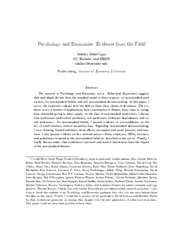 Psychology and Economics: Evidence from the Field