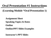 3.5 Oral 1 (Instructors PPT) Fall 2011