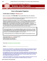 Confirmation Certificate_ How to Recognize Plagiarism, School of Education, Indiana University at Bl