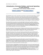 Globalization, Domestic Politics, and Social Spending in Latin America