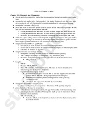 ECON 3113 Chapter 11 Notes