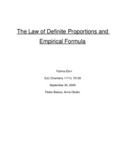 The Law of Definite Proportions and Empirical Formula