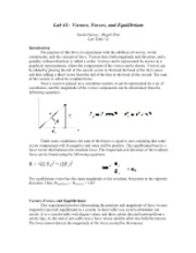 Lab Vectors, Forces, and Equilibrium