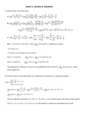 Exam 1 Version B Solutions