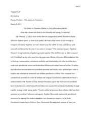 The Political Science Midterm Paper on President Obama and President Lincoln