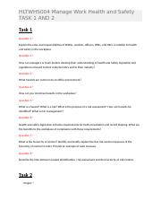 HLTWHS004 Manage Work Health and Safety TASK 1 AND 2.docx