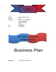 Business Plan- HOME STAY