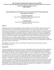 Cultural Implications and Guidelines for Extension and Family Life Programming with Latino:Hispanic