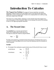 Math 151 -Section 2.1 -  Introduction to Calculus - Tangent Line Problem Fall 2012