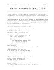 In-Class Assignment 5 SOLUTIONS