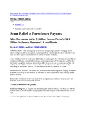 20130409-WSJ-Scant Releif in Foreclosure Payouts