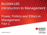 5. Power, Politics and Ethics in Management