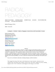 Lab- DiAngelo - Leaning In - radical-pedagogy