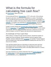 What is the formula for calculating free cash flow