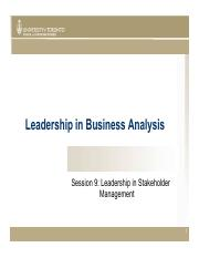 Session 9 LBA - Leadership in Stakeholder Management