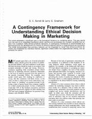 Contingency framework for understanding ethical decision m_1