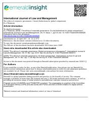 #6 2009 (7)The ethics of corporate governance Crucial distinctions for global comparisons
