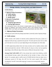 Lec 02 Highway Eng - Design Parameters Turning Paths and Sight Distance.pdf