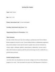 Speaking Plan Template Presentation 1