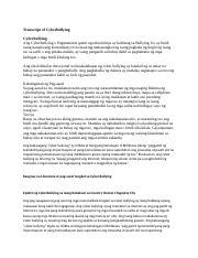 Transcript of Cyberbullying docx - Transcript of Cyberbullying