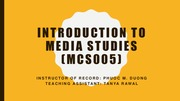 Intro to Media and Cultural Studies