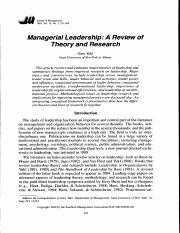 Managerial Leadership A Review of Theory and Research