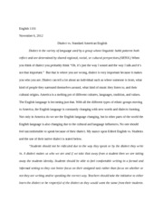 Dialect vs. Standard American English Essay