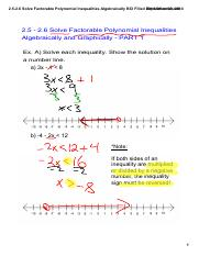 2.5-2.6 Solve Factorable Polynomial Inequalities Algebraically BCI Filled Q1 2014