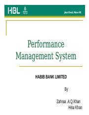 hbl performance management