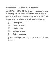 Example 1 on Ind Motor Power Flow