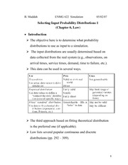 Lecture 3 on Selecting Input Probability Distributions (1, Chapter 6 Law)
