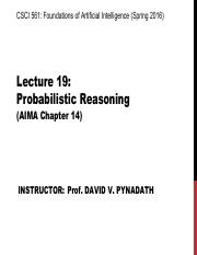 AI Spring 2016 Lecture 19