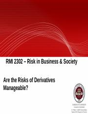 Module 10A - Are the risks of derivatives manageable(1)