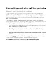Cultural Communication and Reorganization.docx