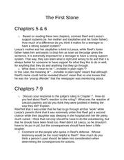 The First Stone Chapter 5-9 Homework Questions