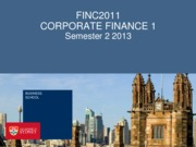 FINC2011 Lecture 1 - Financial Management
