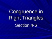 4-6 Congruence in Right Triangles