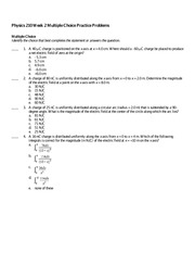 Physics 210 Practice Question 2 and Solutions