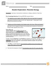 lab - gizmo reaction energy.pdf - Name Date Student ...