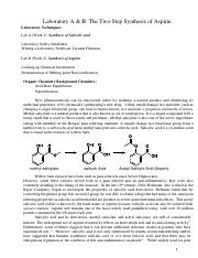 Labs A&B - The two-step Synthesis of Aspirin - Revised