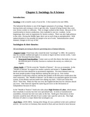 SOCL 2001 Chapter One Notes
