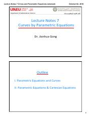 Lecture Notes 7 Cirves and Parametric Equations