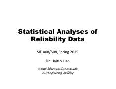 Lecture 5 - Statistical Data Analyses