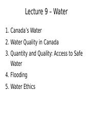 Lecture 9 - Water - A2L