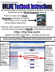 Online World Geography Textbook Instructions