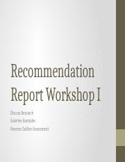 Recommendation Workshop 1