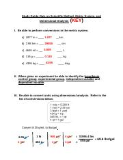 Study Guide-Quiz on Scientific Method, Metric System, Dimensional Analysis - Answer Key (2).docx