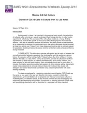 BME 310 2014 Module 3-B Cell Culture Lab Notes