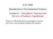 "Lecture 8 â€"" Atmospheric Structure and Review of Radiative Equilibrium"